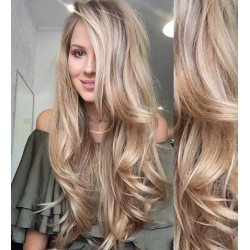 CLIP IN pás 60-63 cm, 100% ľudské vlasy, vlnitý - platina / svetlo hnedá
