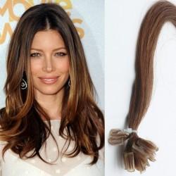 Hnedé vlasy na predĺženie - keratin, 50 cm, 25 prameňov (006)